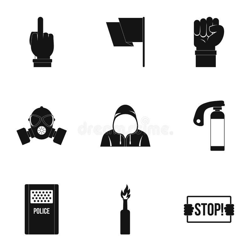 Insieme ribelle dell'icona di dimostrazione, stile semplice illustrazione vettoriale