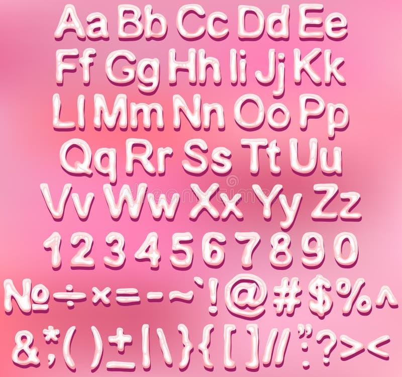 Insieme rosa lucido della fonte della caramella illustrazione vettoriale