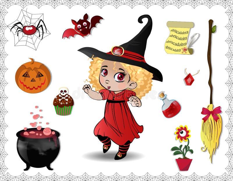 Insieme rosso del fumetto di Halloween degli oggetti per le streghe e la ragazza sveglia della strega su fondo bianco illustrazione vettoriale