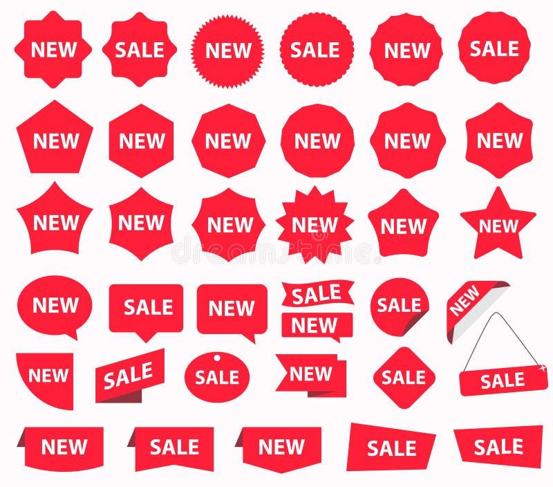 Insieme rosso dell'autoadesivo di sconto Pubblicit?, insegna di vendita Vettore royalty illustrazione gratis