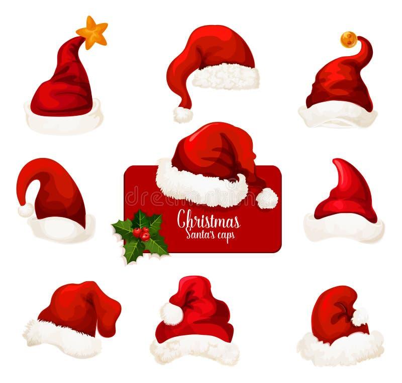 Insieme rosso dell'icona del fumetto del cappello e del cappuccio di Santa di Natale illustrazione di stock