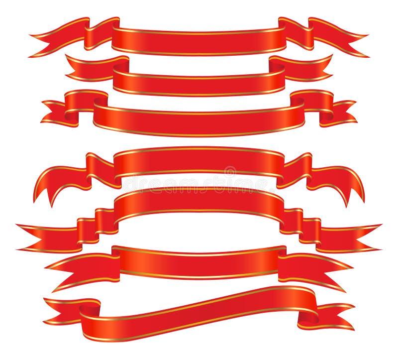 Insieme rosso della bandiera di vettore illustrazione vettoriale