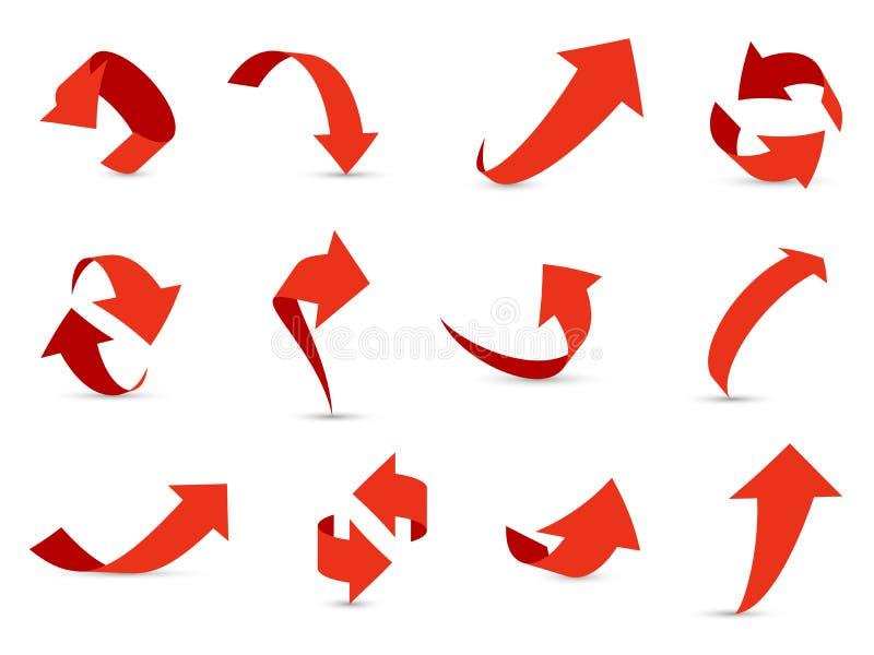 Insieme rosso delle frecce 3d Percorso differente di informazioni della freccia di declino finanziario di crescita su giù la racc illustrazione di stock
