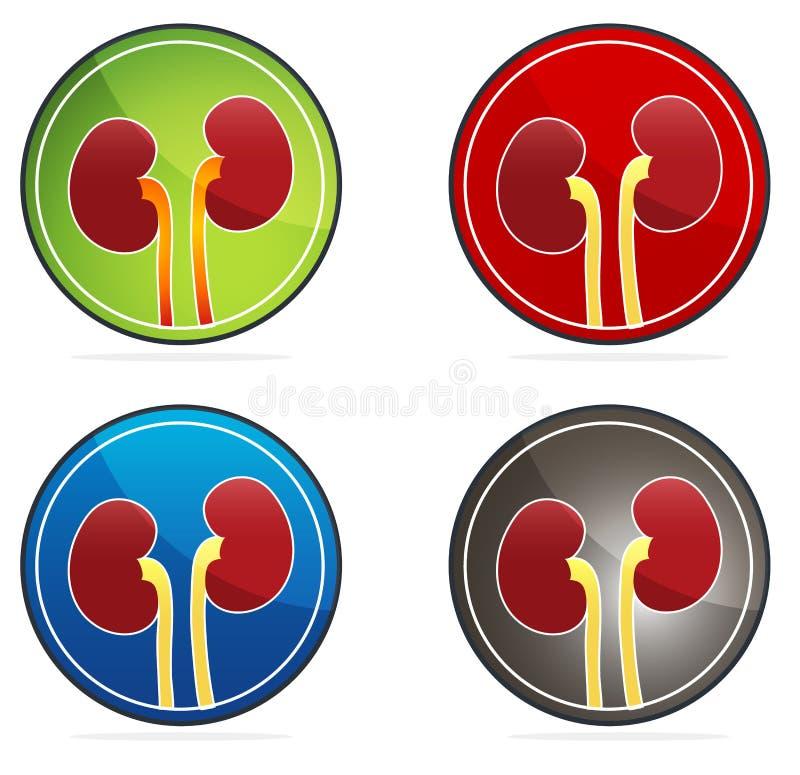 Insieme rotondo dell'icona dei reni royalty illustrazione gratis
