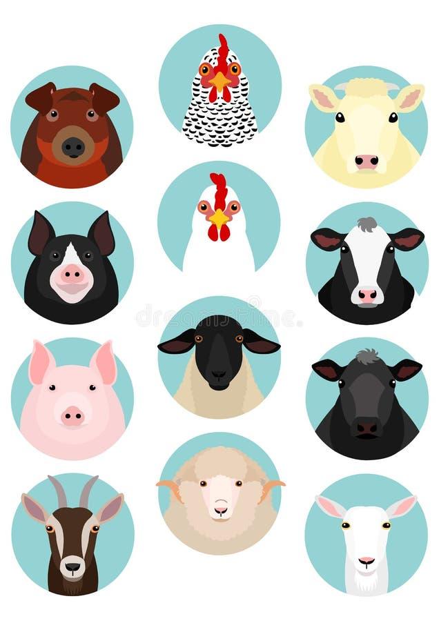 Insieme rotondo dell'icona del vario fronte del bestiame royalty illustrazione gratis