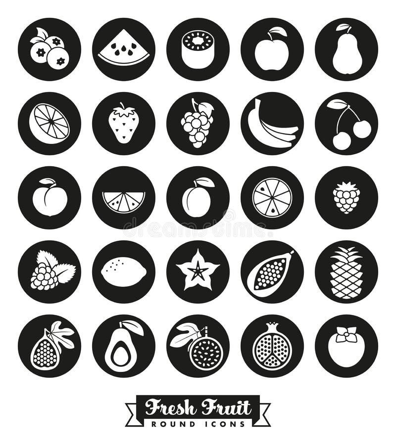 Insieme rotondo di vettore dell'icona dell'assortimento della frutta illustrazione vettoriale