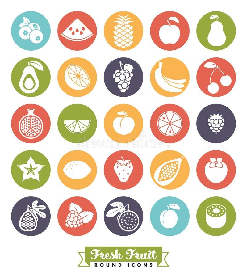 Insieme rotondo di vettore dell'icona di colore dell'assortimento della frutta illustrazione vettoriale