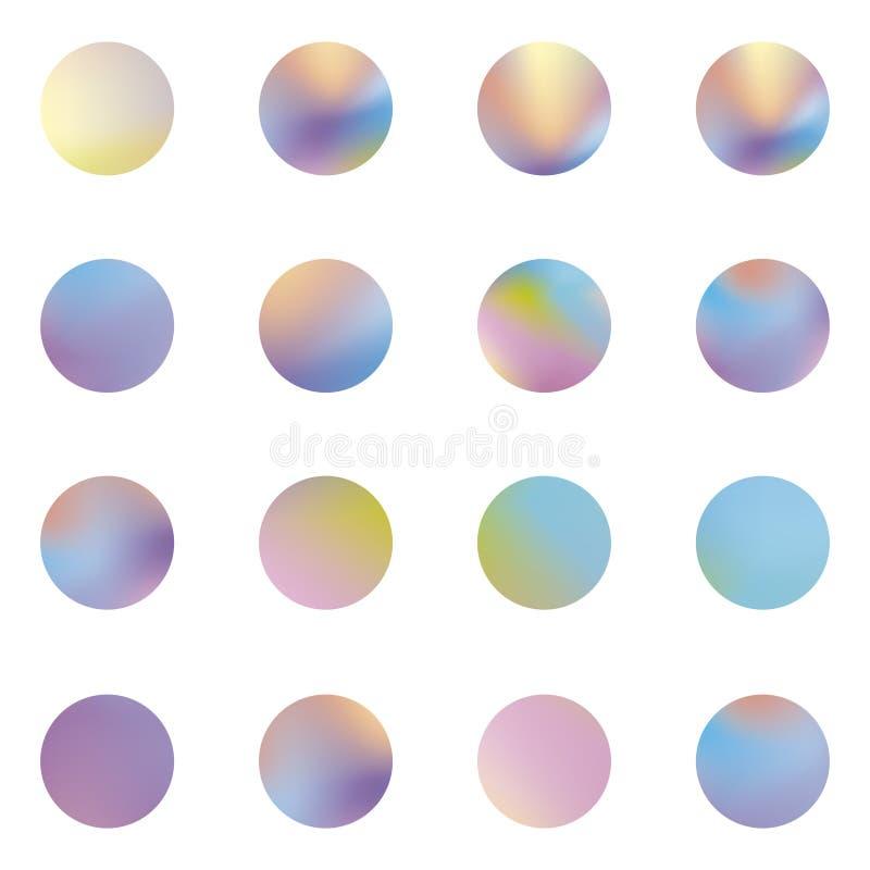 Insieme rotondo olografico delle strutture del modello olografico di Chrome Contesti d'avanguardia Bolle dell'ologramma Strutture royalty illustrazione gratis