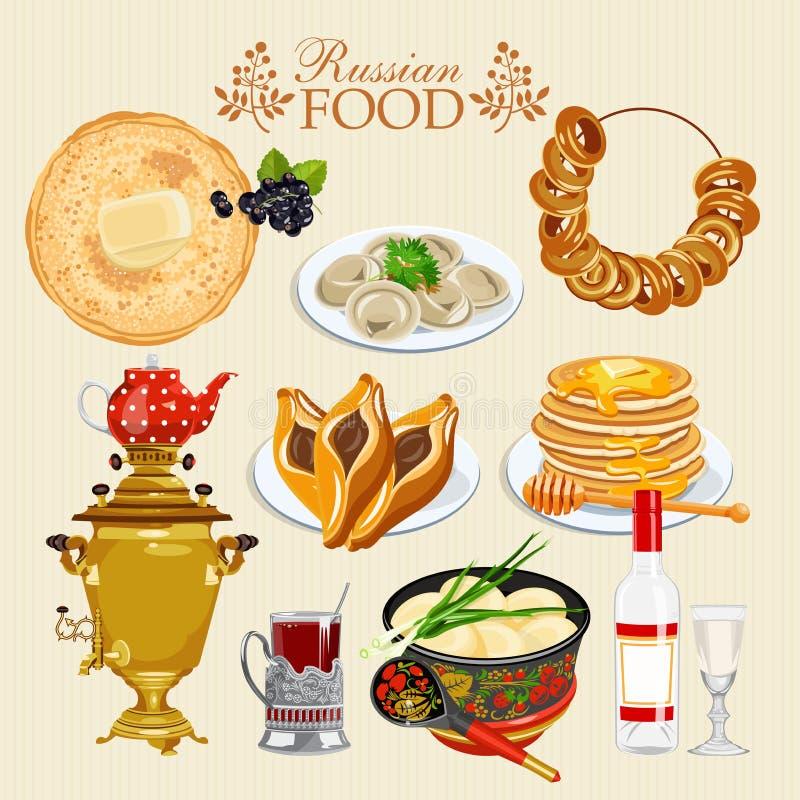 Insieme russo dell'alimento di vettore royalty illustrazione gratis