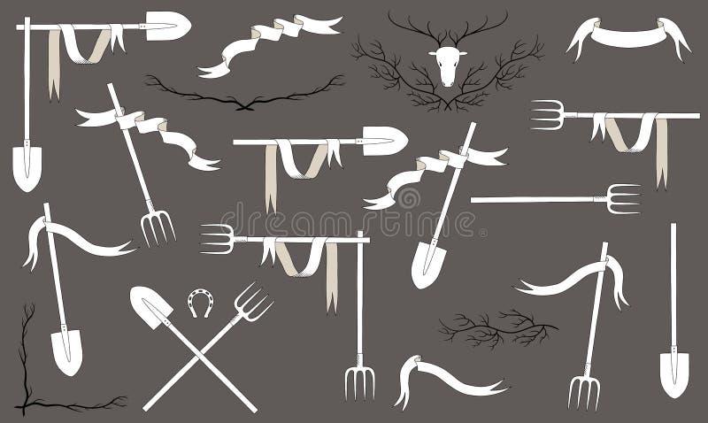 Insieme rustico dell'agricoltore angoli e strutture degli strumenti Elementi di disegno di vettore royalty illustrazione gratis