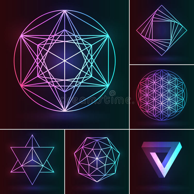 Insieme sacro della geometria Ornamento esoterico di vettore sul backgr al neon illustrazione vettoriale