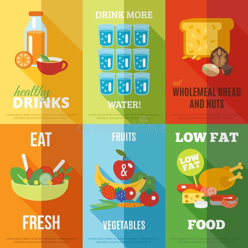 Insieme sano del manifesto di cibo royalty illustrazione gratis