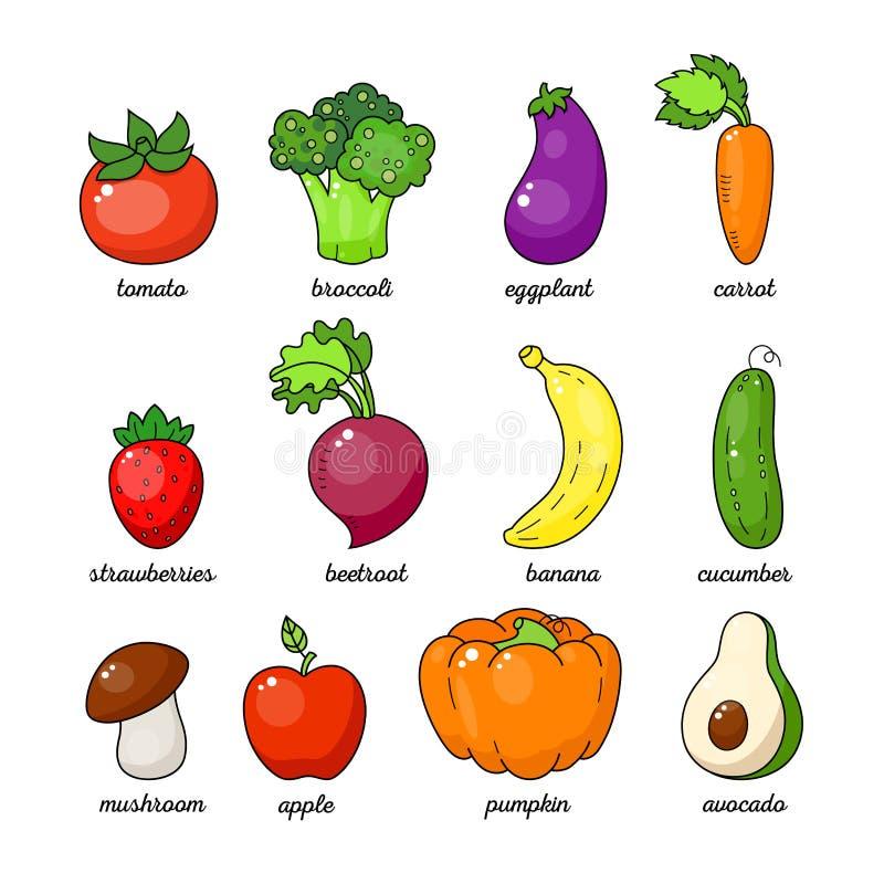 Insieme sano della verdura del fumetto Verdura e frutta isolate su fondo bianco illustrazione vettoriale