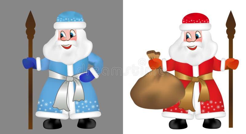 Insieme Santa Claus russa o padre Frost anche conosciuto come Ded Moroz in pelliccia blu e rossa Caratteri divertenti del nuovo a illustrazione di stock
