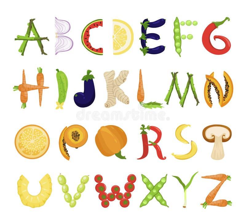 Insieme saporito di alfabeto dell'alimento, raccolta di tipografia della fonte royalty illustrazione gratis