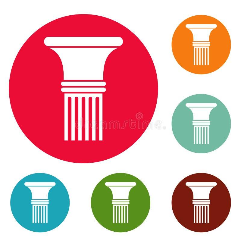 Insieme scanalato in del cerchio delle icone della colonna illustrazione di stock