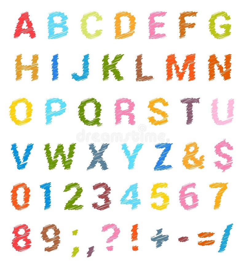 Insieme schizzato di alfabeto Lettere maiuscole e numeri illustrazione vettoriale