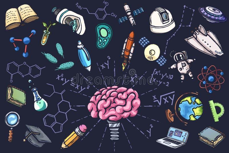 Insieme scientifico delle icone disegnate a mano di vettore royalty illustrazione gratis
