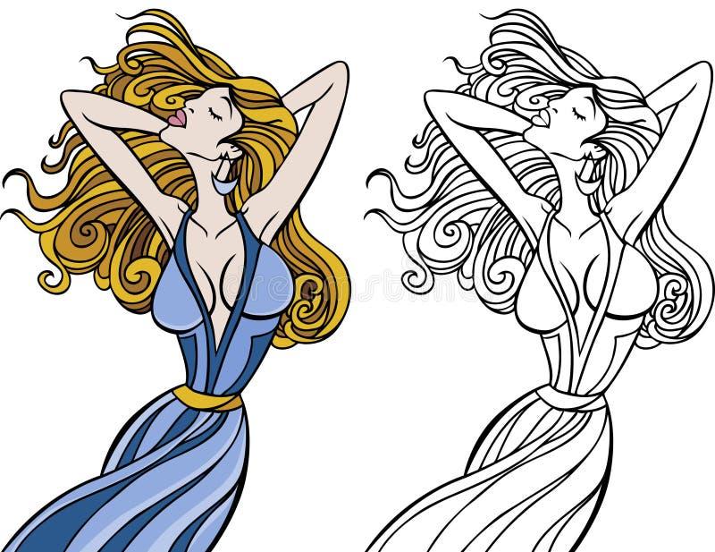 Insieme scorrente della donna dei capelli royalty illustrazione gratis