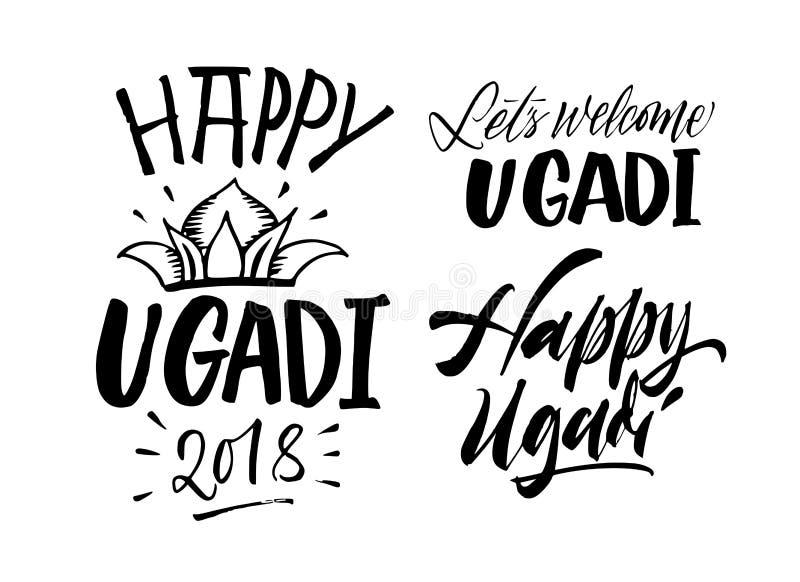 Insieme scritto a mano felice dell'iscrizione di Ugadi Giorno del ` s del nuovo anno dell'indù c illustrazione di stock