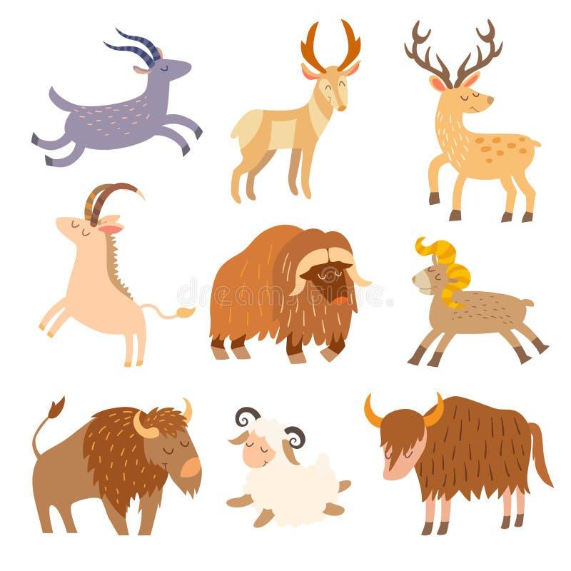 Insieme selvaggio del bestiame Animali piani del fumetto illustrazione di stock