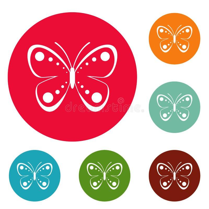 Insieme selvaggio del cerchio delle icone della farfalla illustrazione vettoriale