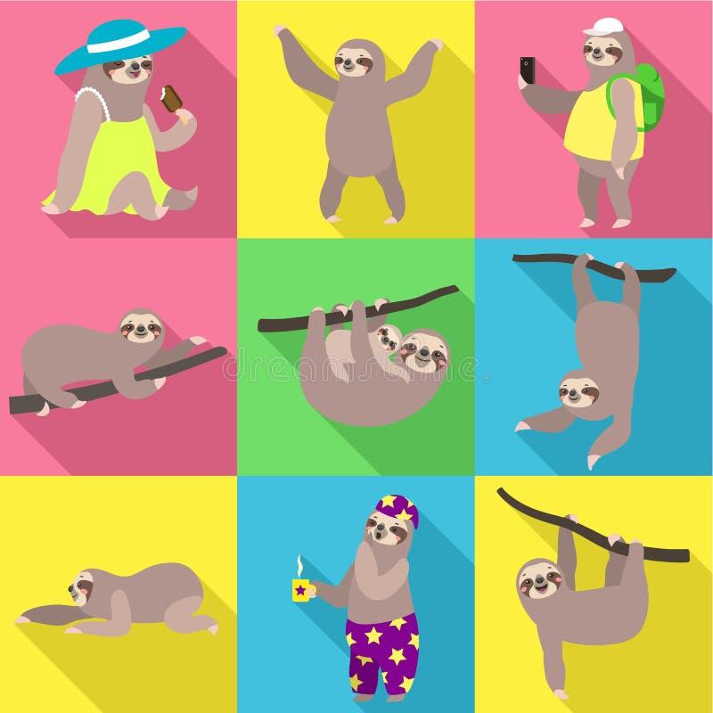 Insieme selvaggio dell'icona di bradipo, stile piano royalty illustrazione gratis