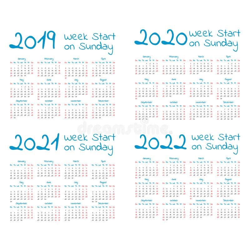 Insieme semplice del calendario di anno 2019-2022 illustrazione di stock