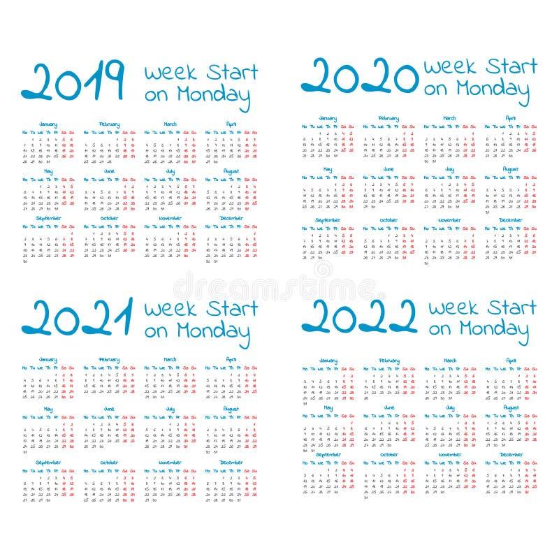 Insieme semplice del calendario di anno 2019-2022 royalty illustrazione gratis