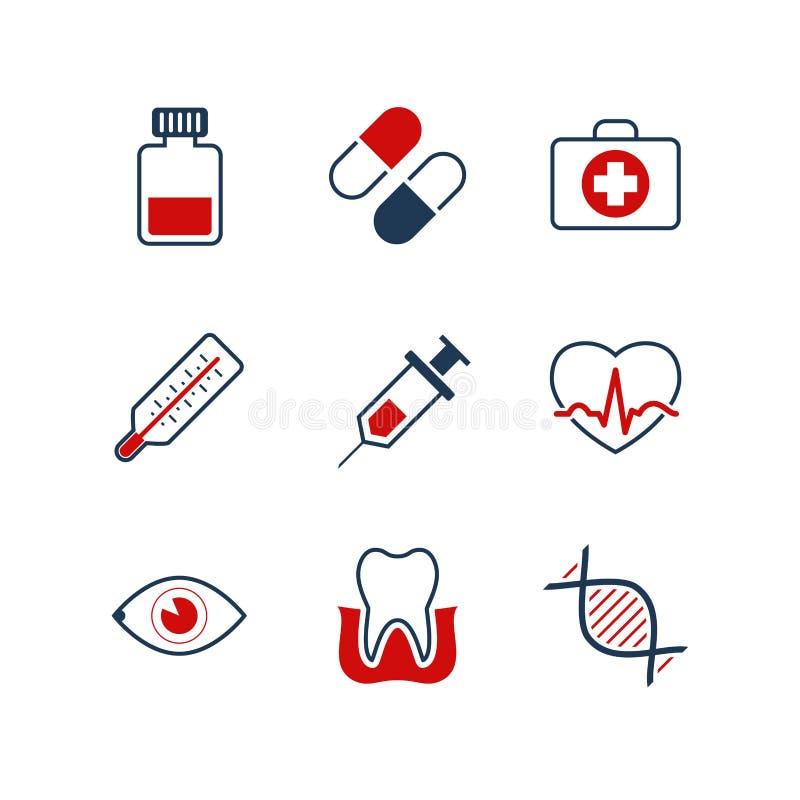Insieme semplice dell'icona di vettore della medicina royalty illustrazione gratis