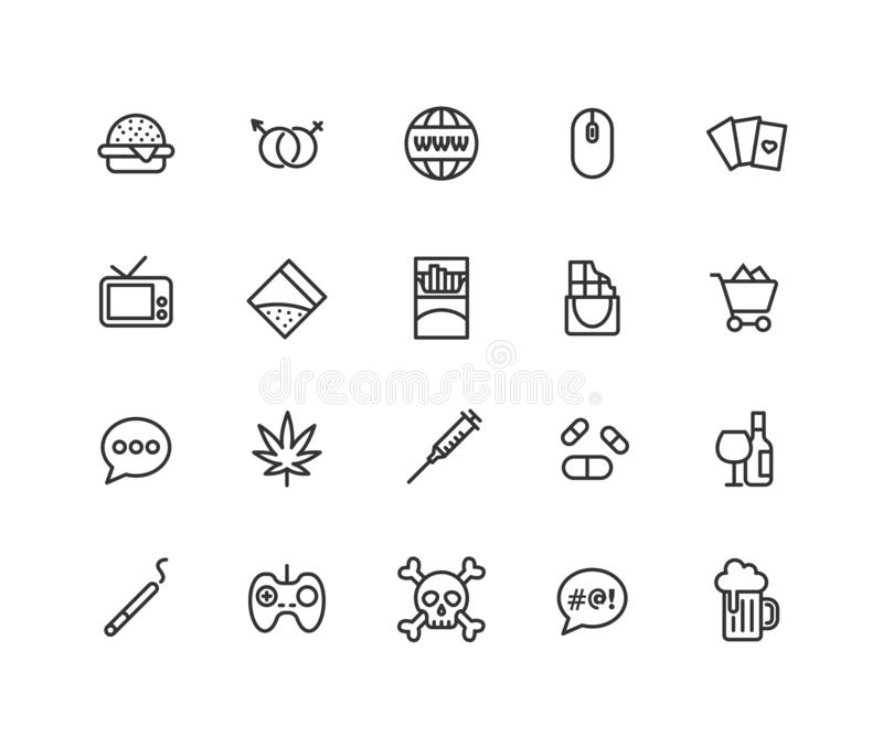 Insieme semplice della linea icone di vettore di cattive abitudini Contiene tali icone come la sigaretta, la cocaina, cannabis, c royalty illustrazione gratis
