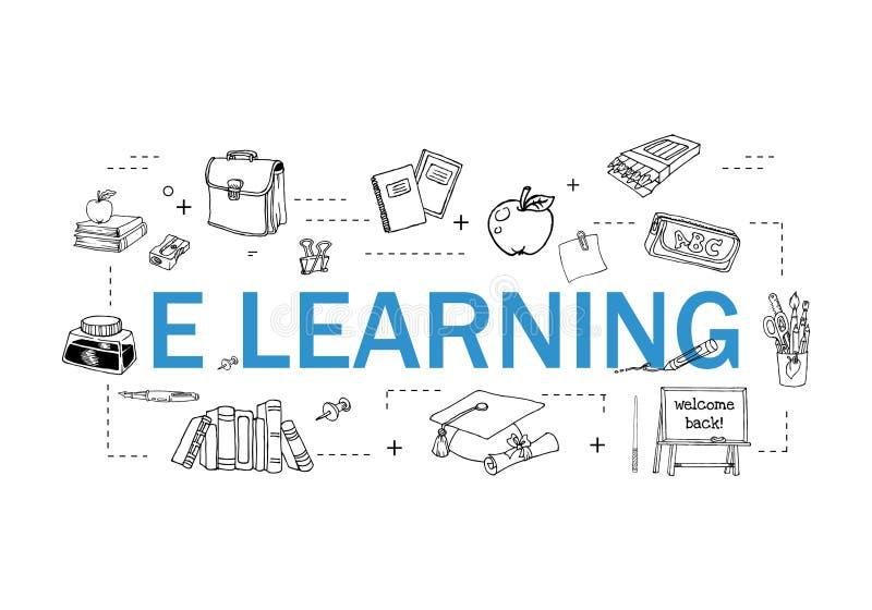Insieme semplice della linea relativa icone di vettore di istruzione online Contiene tali icone come la video esercitazione, il l illustrazione vettoriale