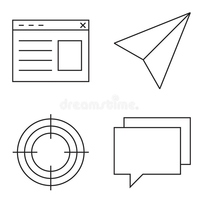 Insieme semplice della linea sottile icone di vettore royalty illustrazione gratis