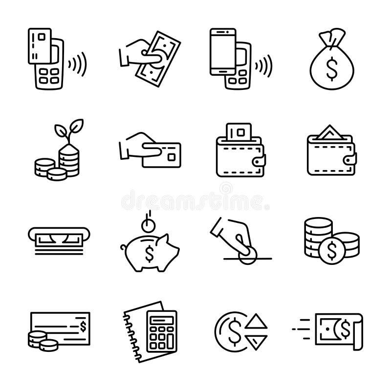 Insieme semplice delle icone lineari di vettore di finanza e dei soldi illustrazione di stock