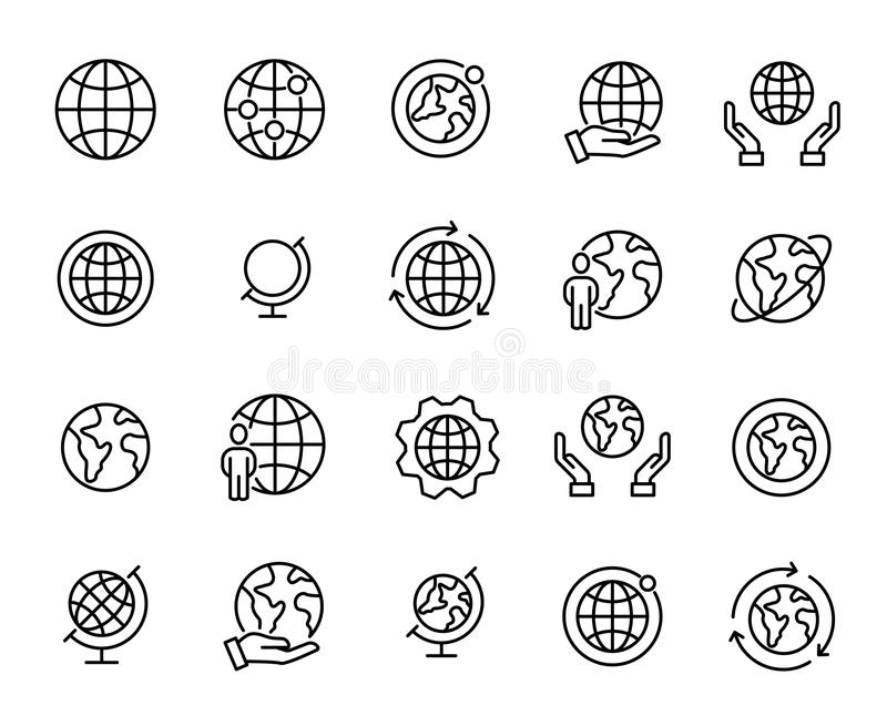 Insieme semplice delle icone relative del profilo del globo illustrazione di stock