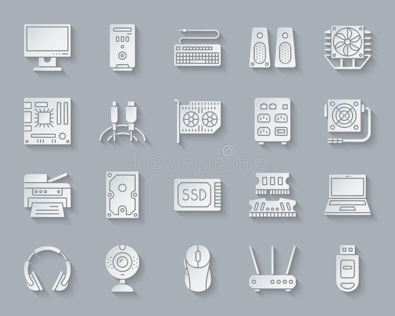 Insieme semplice di vettore delle icone del taglio della carta del computer illustrazione di stock
