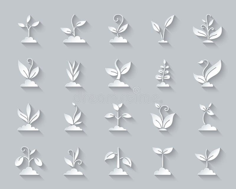 Insieme semplice di vettore delle icone del taglio della carta dell'erba illustrazione di stock
