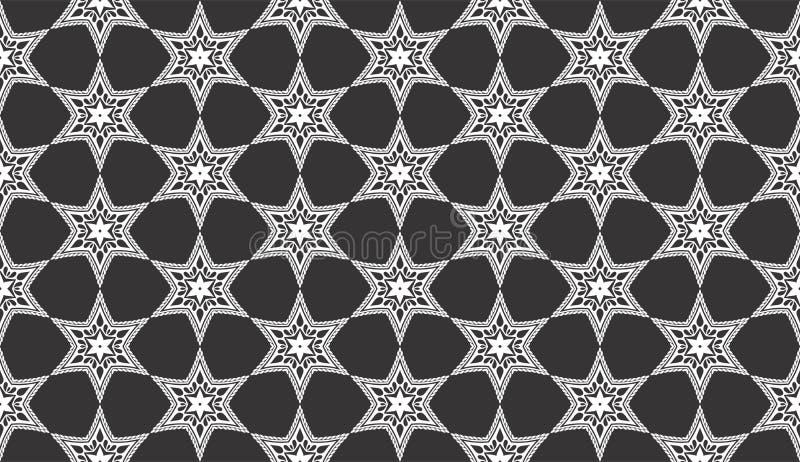 Insieme senza cuciture in bianco e nero del motivo a stelle illustrazione vettoriale