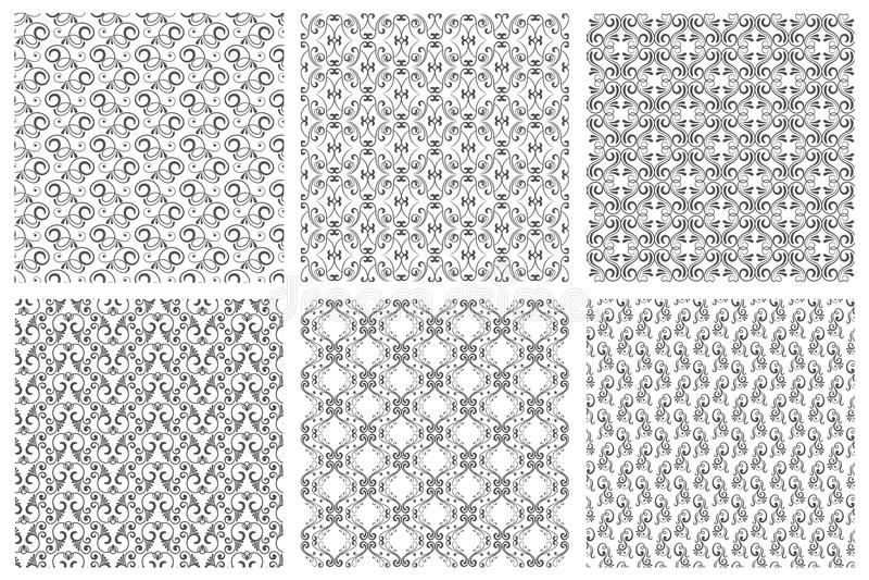Insieme senza cuciture d'annata floreale orientale del modello di vettore del damasco Modelli calligrafici dai riccioli su fondo  illustrazione di stock