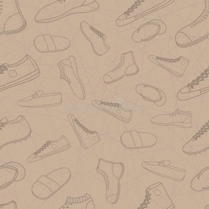 Insieme senza cuciture del modello delle scarpe degli uomini stile di disegno di progettazione di scarabocchio Illustrazione EPS1 illustrazione di stock