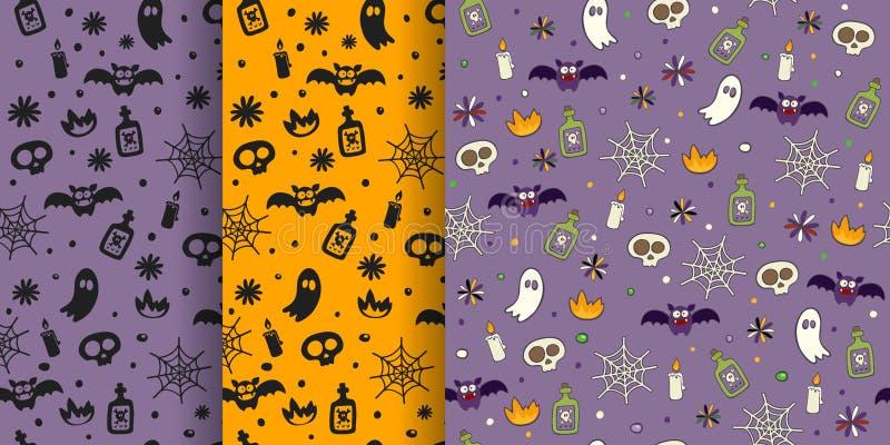 Insieme senza cuciture del modello di Halloween con il cranio del veleno della candela di web del pipistrello del fantasma Fondo  illustrazione di stock