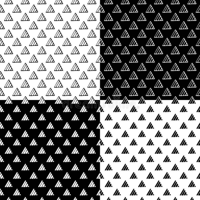 Insieme senza cuciture del modello di vettore disegnato a mano del triangolo illustrazione vettoriale