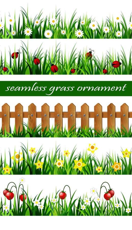 Insieme senza cuciture dell'erba verde illustrazione vettoriale