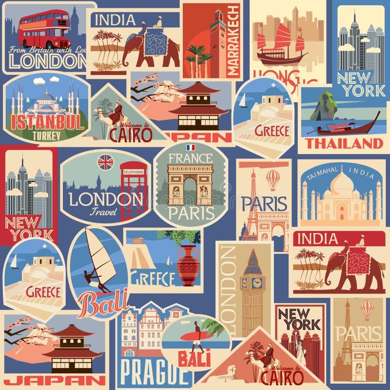 Insieme senza cuciture di retro etichette e carte di viaggio Paesi e città differenti illustrazione vettoriale