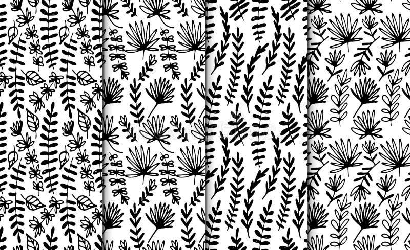 Insieme senza cuciture disegnato a mano floreale del modello Fiori operati astratti disegnati a mano Stile disegnato a mano piega illustrazione vettoriale