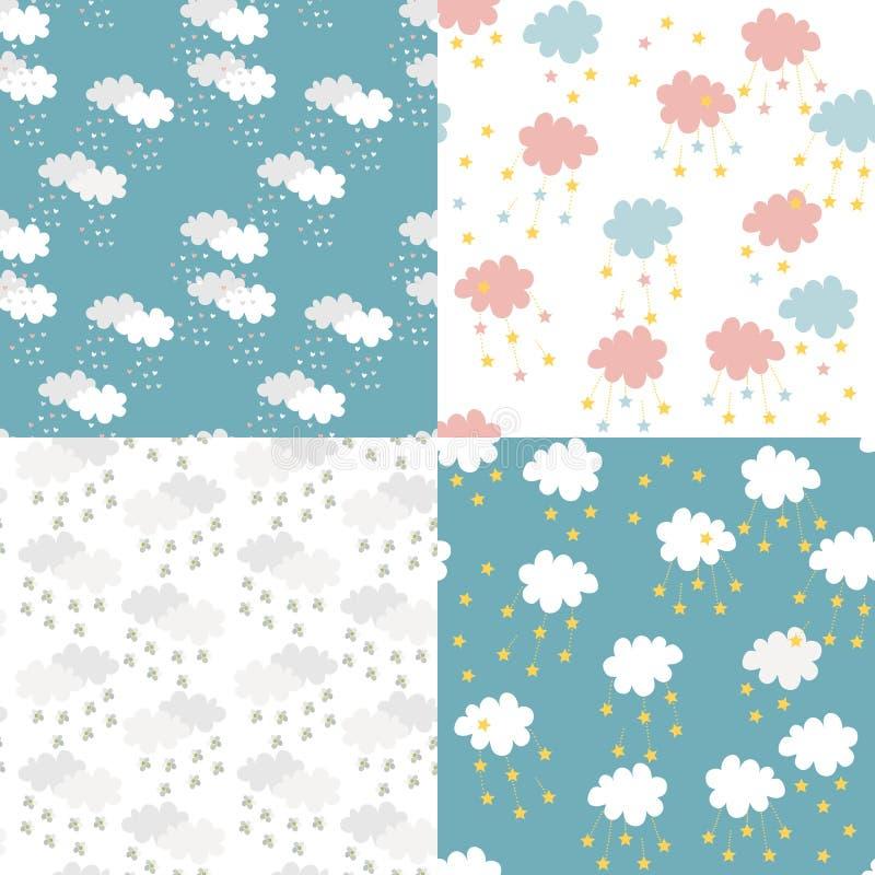 Insieme senza cuciture scandinavo del modello Stampa neonata per tessuto Fondo dei bambini con le nuvole, i cuori, le stelle ed i illustrazione vettoriale