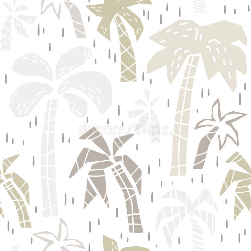 Insieme senza cuciture sveglio della stampa del modello del bambino della palma Illustrazione di festa di Beachsummer per la scuo illustrazione vettoriale
