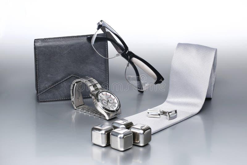Insieme sexy ed alla moda, accessori d'argento per l'uomo di affari X fotografie stock