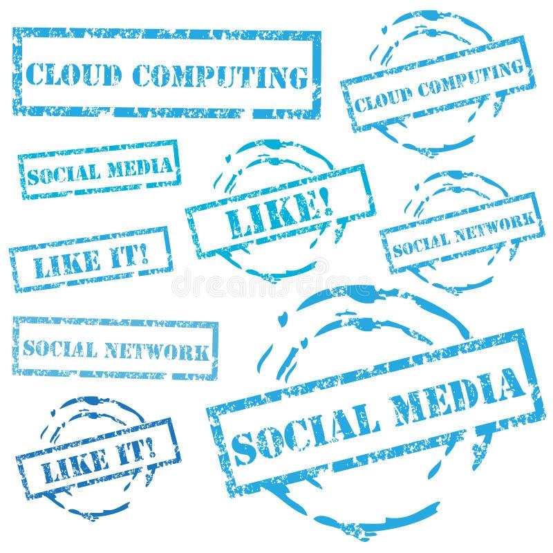 Insieme sociale del bollo di media illustrazione vettoriale