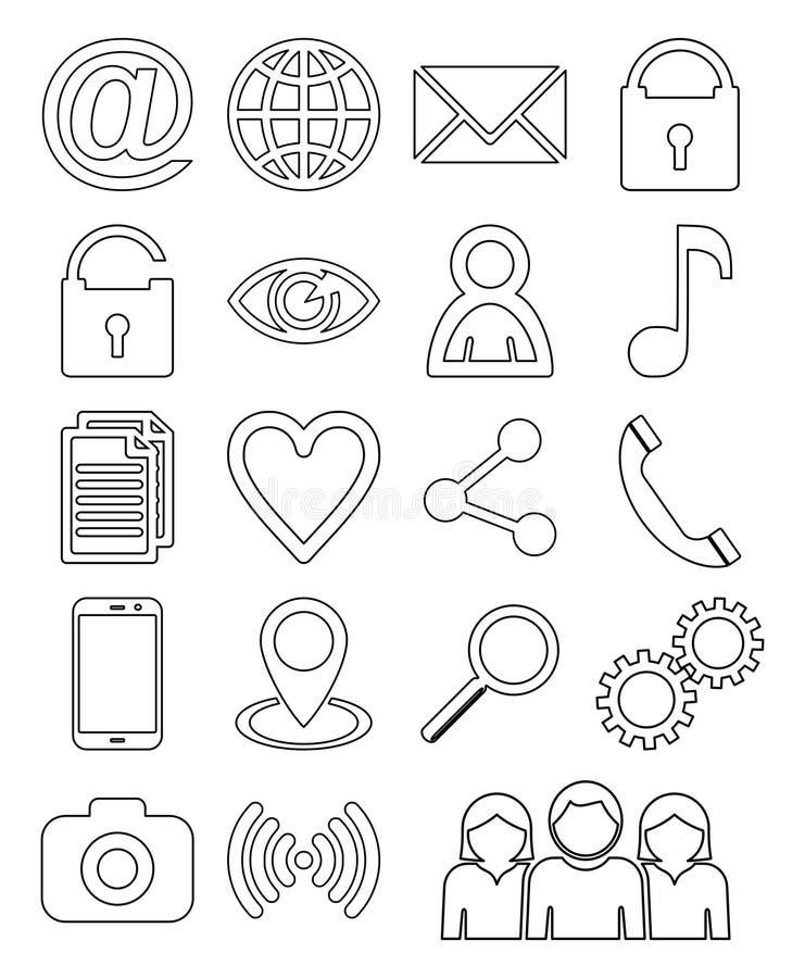 Insieme sociale dell'icona del profilo di Internet di media royalty illustrazione gratis